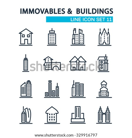 Immovables and Buildings lined icons. 16 icons isolated on the white background. Vector Illustration, eps10, contains transparencies. - stock vector