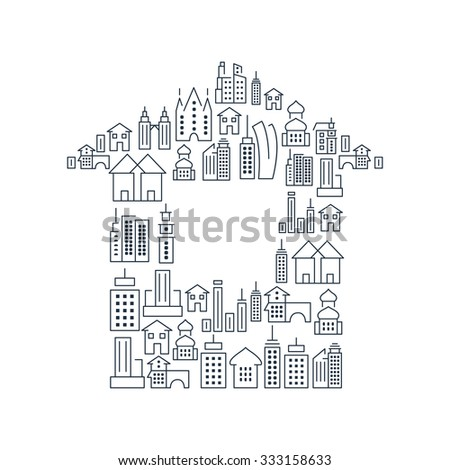 Immovables and Buildings lined icons set on the white background in the form of building. Vector Illustration, eps10, contains transparencies. - stock vector