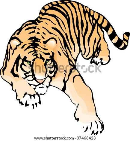 Imperceptibly crouching tiger - stock vector
