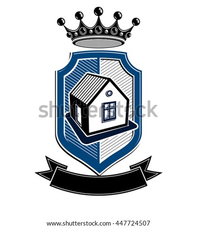 Imperial coat of arms, royal house conceptual vector symbol. Protection shield with 3d king crown. Majestic heraldic design element.  - stock vector