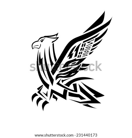 Imperial heraldic eagle with outspread wings isolated on white background. For design, such as history and heraldry - stock vector