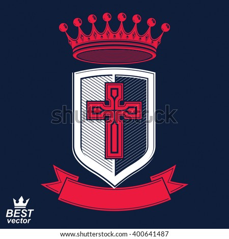 Imperial insignia, vector royal shield with decorative band and monarch coronet. Detailed eps8 coat of arms, king guard symbol with cross - web design element. Crusade. - stock vector