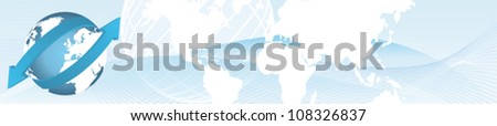 Import export web banner with globe - stock vector