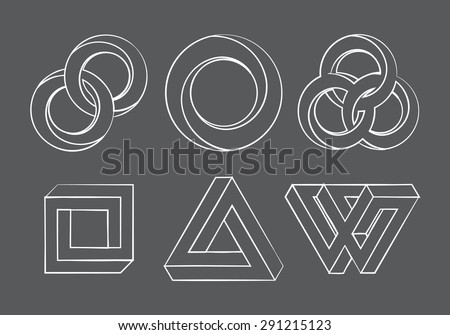 Impossibe looped shapes,circles, square and triangles. Vector - stock vector