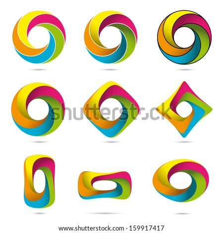 Impossible Infinite Loop Vector Design Elements Collection. Easily editable with global color swatches. - stock vector