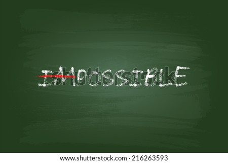 Impossible Is Possible Concept On Green Board - stock vector