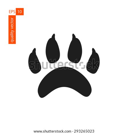 imprint, footprint cat or dog paw. icon on a white background. vector - stock vector