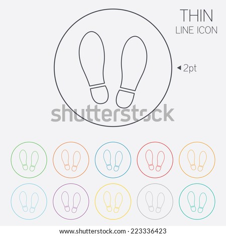 Imprint soles shoes sign icon. Shoe print symbol. Thin line circle web icons with outline. Vector - stock vector