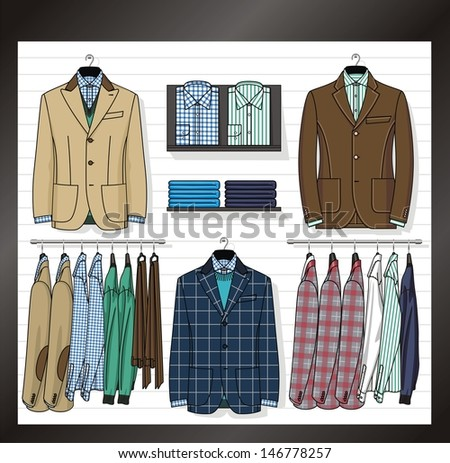 In a show-window of shop the business clothes for men are placed - stock vector
