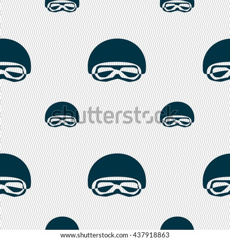 In a ski masks, snowboard ski goggles, diving mask icon sign. Seamless pattern with geometric texture. Vector illustration - stock vector