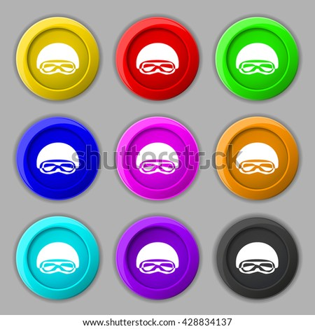 In a ski masks, snowboard ski goggles, diving mask icon sign. symbol on nine round colourful buttons. Vector illustration - stock vector