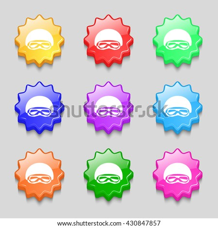 In a ski masks, snowboard ski goggles, diving mask icon sign. symbol on nine wavy colourful buttons. Vector illustration - stock vector