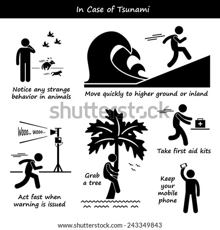 In Case of Tsunami Emergency Plan Stick Figure Pictogram Icons - stock vector