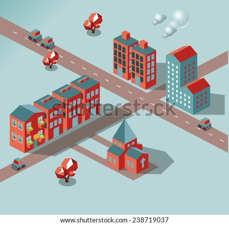 In development city. vector isometric - stock vector
