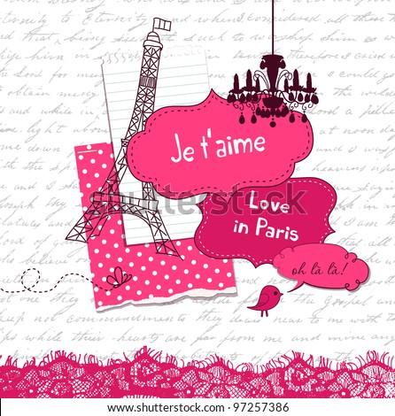 In Love with Paris, Cute scrapbook elements - stock vector