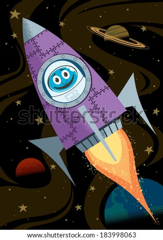 In Space: Cartoon illustrations of rocket in space. No transparency and gradients used.  - stock vector