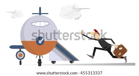 In the airport. Scurrying man trying does not miss the flight  - stock vector