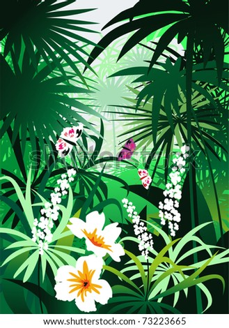 In the dense reeds bloom exquisite tropical flowers and - stock vector