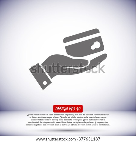 in the hands of the Bank credit card icon, vector . 10 EPS - stock vector