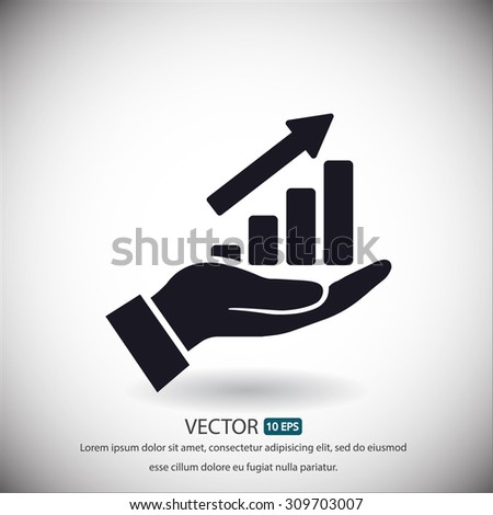 in the hands of the Infographic icon, vector . 10 EPS - stock vector