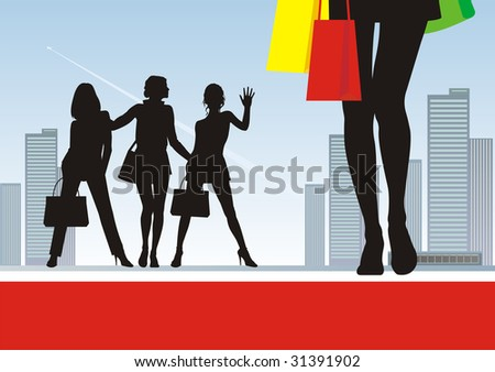 In the illustration foreground female feet and bright packages. Near to them three female silhouettes. On a distance shot a city landscape with skyscrapers. - stock vector