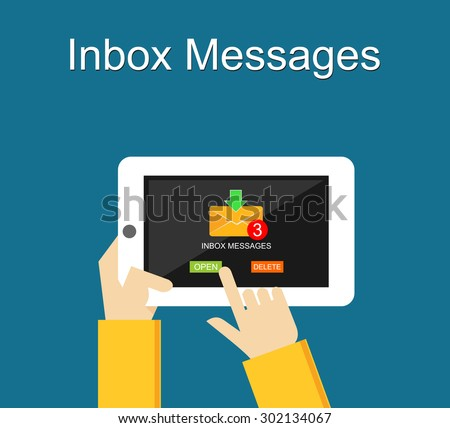 Inbox messages notification on mobile phone concept. - stock vector
