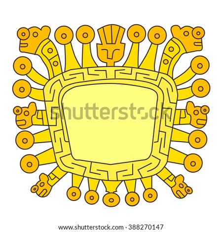 Inca icon. Viracocha, is the great creator god in Inca mythology - stock vector