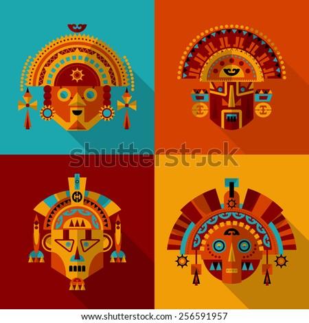 Inca masks. Set 1. Vector illustration - stock vector