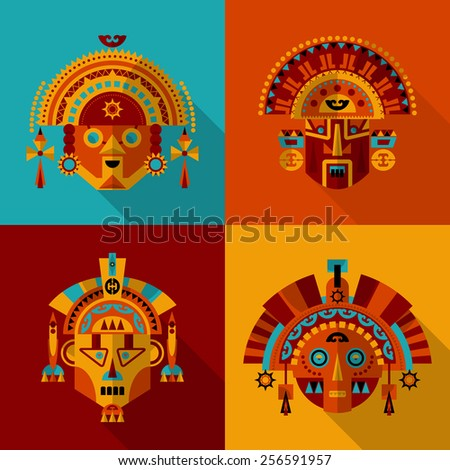 Inca masks. Vector illustration - stock vector