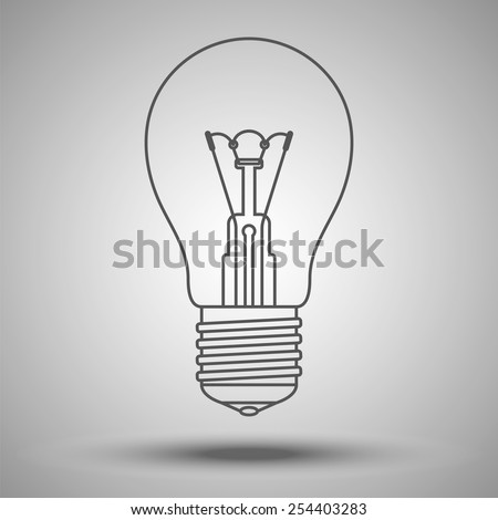 Incandescent lamp. Vector lighting device on a gray background. A symbol of new ideas, electricity, progress, creativity. Accurate forms and proportion. Way to show concept. - stock vector