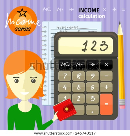 Income calculation concept. Savings, finances, economy in home concept close up of woman with purse near calculator counting money and making notes cartoon design style - stock vector
