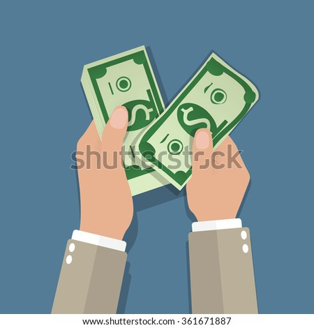 income concept. businessman counting cash money, on blue background. Vector illustration in flat design - stock vector