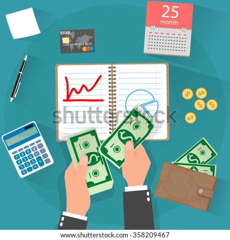 income concept. flat design - stock vector