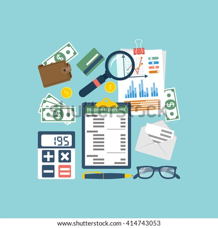 Income statement. Accounting finance. Income money. Documents, statement of income. Income statement vector illustration flat design. Counting profit. Report income. Calculation income. Business paper - stock vector
