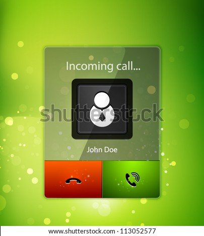 Incoming call user interface - stock vector