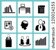 incorporation, office and business icon set, vector - stock vector