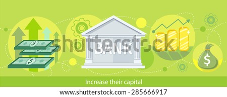 Increase their capital. Detailed horizontal web banner of the bank as a traditional investor on the stylish colored background with notes, diagrams, money. In flat design - stock vector