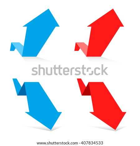 Increasing and decreasing graph set. Red and blue arrows depict growth and recession business. Flat vector chart concept illustration as an element for  web, publish infographic and social networks. - stock vector