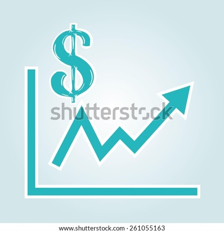 increasing graph with dollar symbol on blue gradient background - stock vector