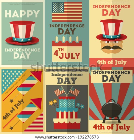Independence Day American  Posters Set in Retro Style. Fourth of July. Vector Illustration.  - stock vector