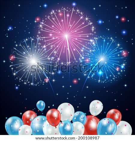 Independence day background with balloons and fireworks on night sky, illustration. - stock vector