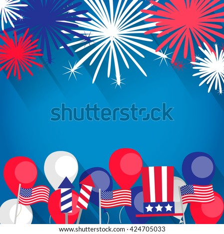 Independence Day background with fireworks, flags, balloons. Independence Day  vector, Independence Day  art, Independence Day  flat,  Independence Day  web, Independence Day  card, - stock vector