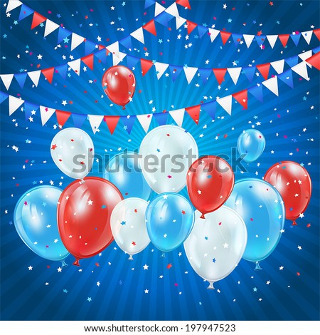 Independence day blue background with balloons, pennants and confetti, illustration. - stock vector