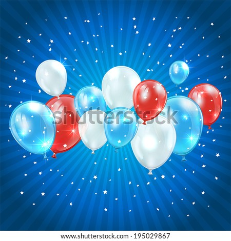 Independence day blue background with tricolor balloons and confetti, illustration. - stock vector
