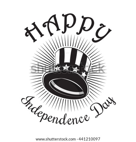 Independence Day card. Happy Independence Day. 4th of July. Uncle Sam Hat. Color icon isolated on white background. Vector illustration - stock vector