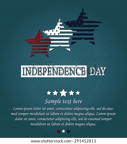 Independence Day card. 4th Of July. Red, white and blue stars on blue textured background. Vector illustration. - stock vector