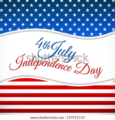 Independence day design with star section and stripes section - stock vector