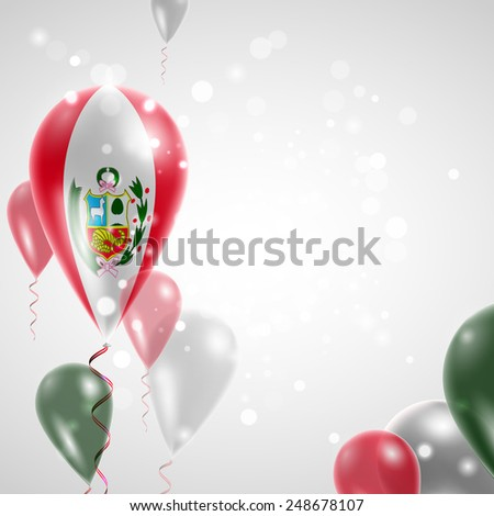 Independence Day. Flag of Peru on air balloon. Celebration and gifts. Balloons on the feast of the national day.  Use for brochures, printed materials, signs, elements - stock vector