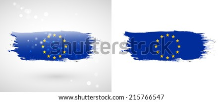 Independence Day. Flag painted with a brush with paint. Grungy flag. Grungy style. Brushstroke. Use for brochures, printed materials, icons, logos, signs,  elements, etc. European Union flag - stock vector