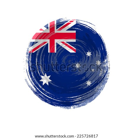 Independence Day. Flag painted with a brush with paint. Grungy flag. Grungy style. Brushstroke. Use for brochures, printed materials, icons, logos, signs,  elements, etc. Australian flag - stock vector
